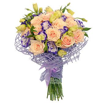 Букет Закат в Сен Тропе: Лизиантус и розы