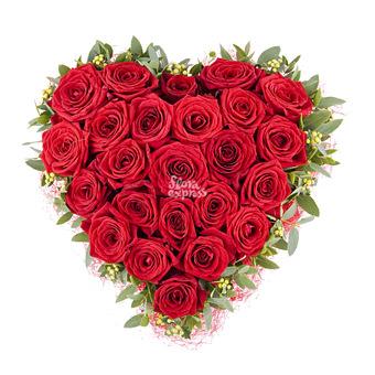 Букет Алые паруса: Сердце из роз
