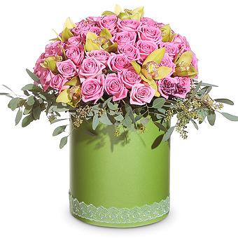 Букет Свежая идея: Розы и орхидеи