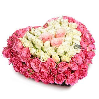 Букет Сердце для любимой: Розы